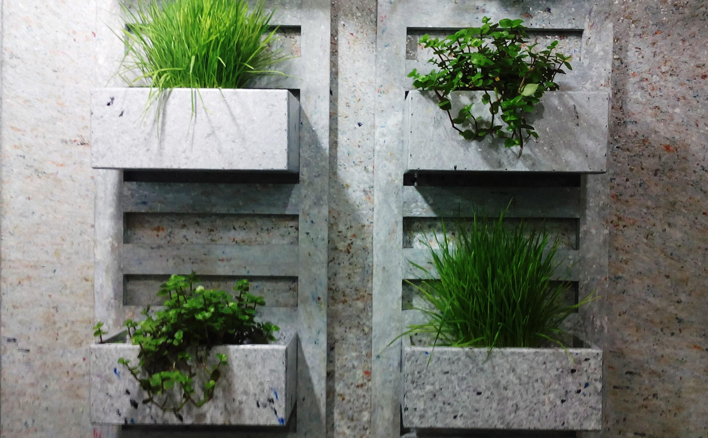 Vasos de plantas fabricados a partir de tubos de creme dental, acoplados na parede